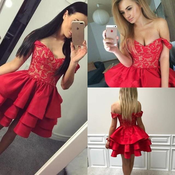 best selling Ruffles Tiered Red Short Homecoming Dresses Modest A Line Off Shoulders Appliqued Mini Cocktail Gowns Short Party Dress