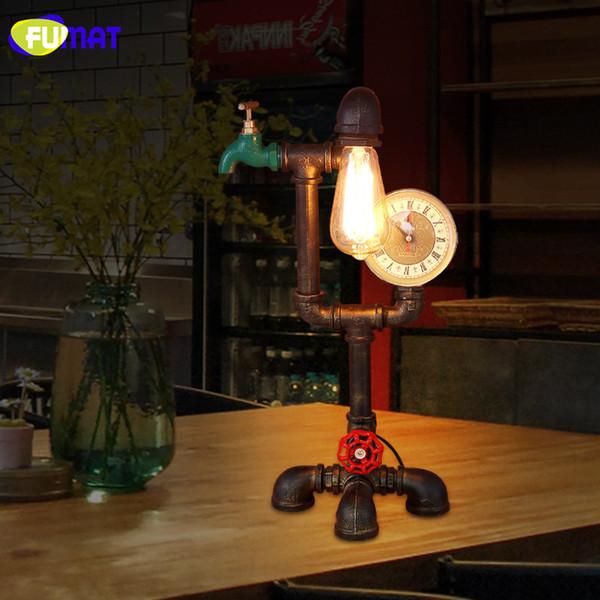 FUMAT Loft Vintage Industrial Pipe Table Lamp with Retro Edison Bulb Desk Lamp Bedroom Bedside Light Metal Pipe Luminaria Table