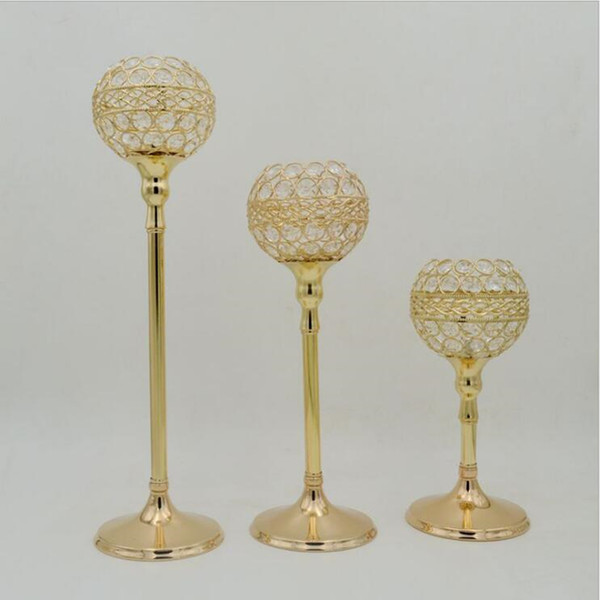Gold/ Silver crystal wedding decoration candle holders event candlesticks party candle stand centerpiece candelabra 1 set= 3 pcs