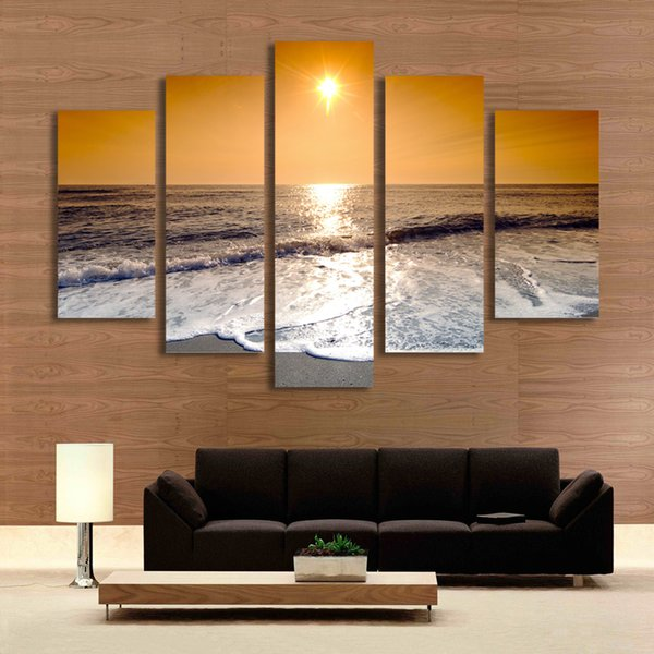 5 Panel Seaside Painting Sunset Painting Wall Art Canvas Prints Picture for Living Room Unframed Modern Home Decor