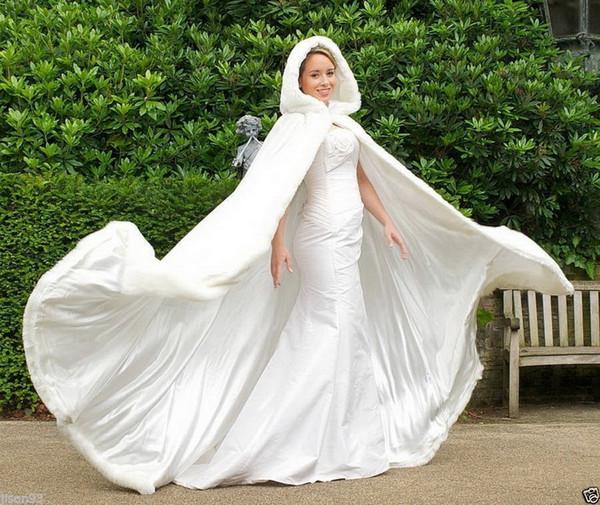 Şık Ucuz Sıcak Gelin Cape fildişi Beyaz Kış Kürk Kadınlar Gelinlik bolero ceket Gelin Cloaks Düğün Coat gelin kış ceket