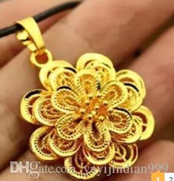3pcs / lots jaune * or blanc rempli fleur rose pendentif dame collier 168yyr