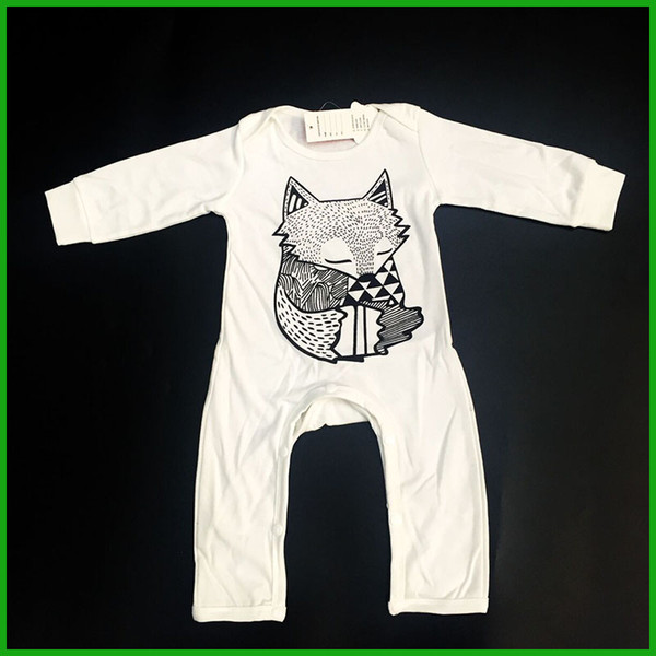 top popular winter baby boys rompers long pants sleeve white color baby jumpsuits fox print o-neck kids toddler bodysuits outfits fast free shipping 2020
