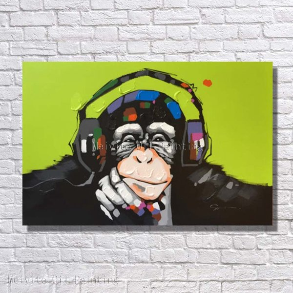 Free shipping cheap price wholesale abstract animal monkey oil painting for bedroom wall decor handmade wall decoration