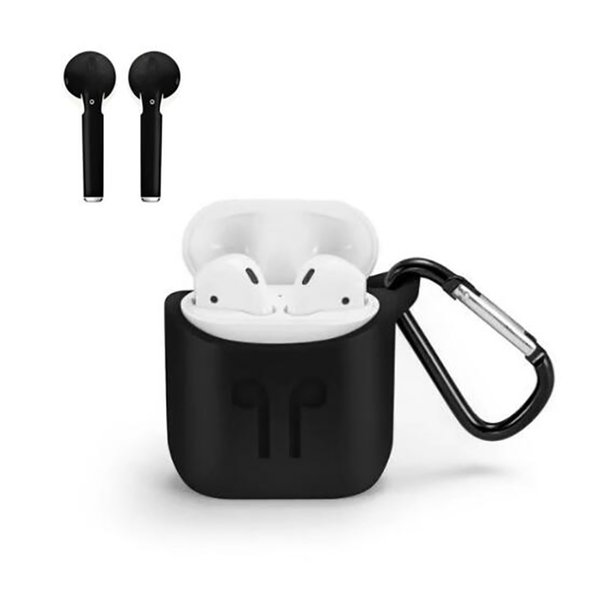 Airpod Protective Cover Pouch Bluetooth Wireless Earphone Silicone Case with clip Anti-drop Accessories Promotion For iphone 7 Retailpackage