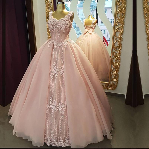 V-Neck Sleeveless Applqiue Luxurious Evening Dresses Light Pink Big Bow Ball Gown Floor Length Sexy Evning Gowns