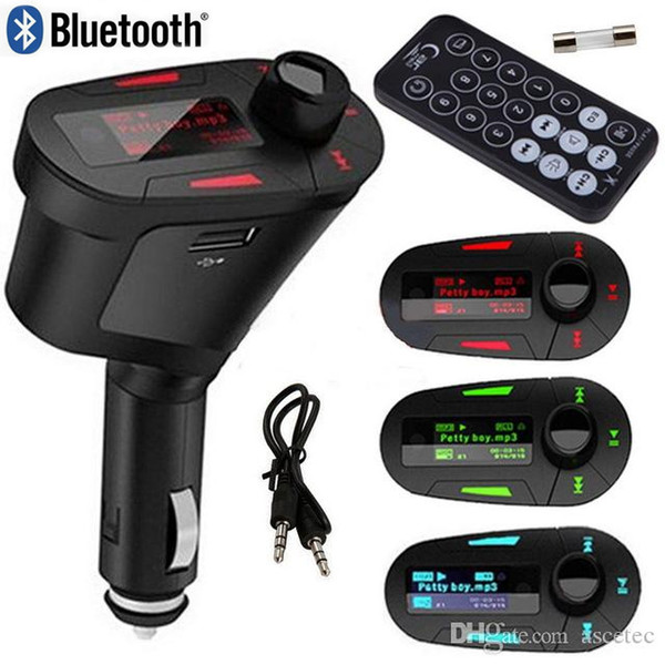 top popular Bluetooth Car Mp3 Player Audio Kit Music Player Wireless FM Transmitter Radio Modulator+Remote Control USB SD MMC Charger for iPhone 7 2019