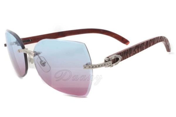 2017 fashion trendy diamonds sunglasses T8300818 with tiger wood arms and two tone lens & gradient lens, silver Size: 60-18-135 mm