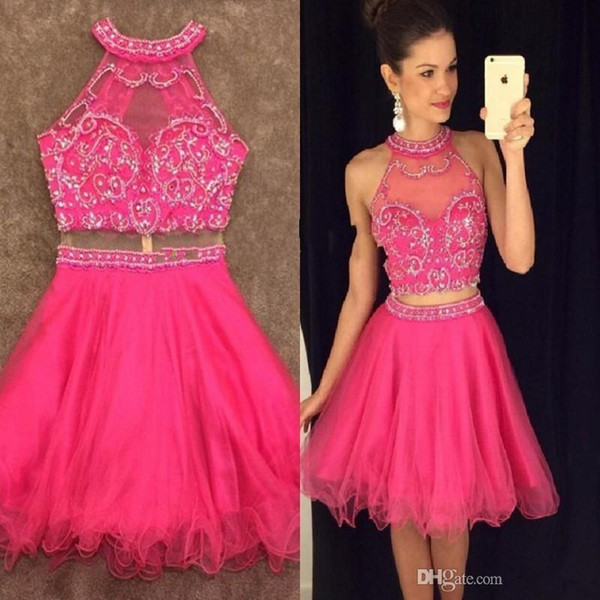 Beads Crop Top Skirt 2 piece Homecoming Dresses short corset prom dresses Graduation Gowns Mini Skirt two piece cocktail party gowns