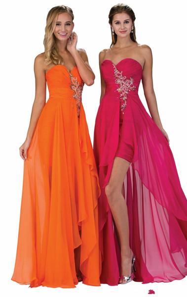 Chiffon Hi Lo Prom Dresses Sweetheart Beading Sequins Pleats Simple Orange Fuchsia Cheap Homecoming Graduation Gowns 2017 High Low Sexy