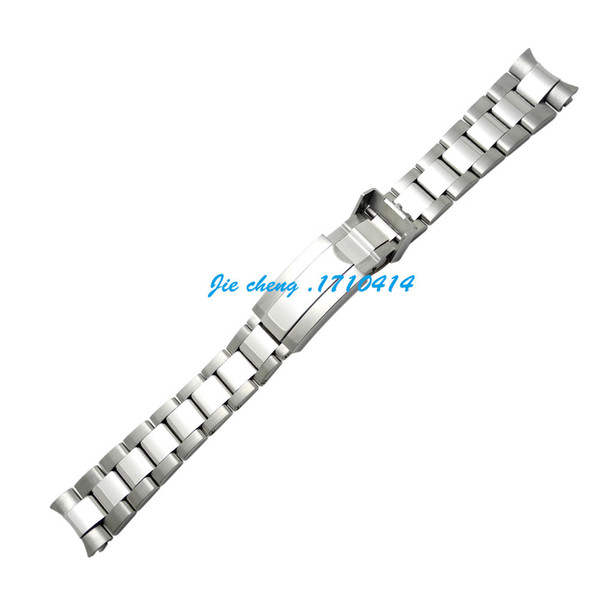 best selling Free Shipping For ROLEXwatch 20mm Intermediate polishig New Men Curved end Watch band Strap Bracelet STAINLESS STEEL Band