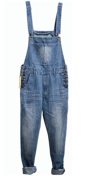 Wholesale-S-5XL 2016 New Men Overalls Pants European American Fashion Skinny Ripped Jeans For Men plus size denim jumpsuit