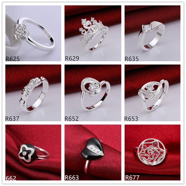 best selling Hot sale high grade women's gemstone sterling silver ring 10 pieces mixed style,wholesale fashion 925 silver ring GTR22 factory direct sale