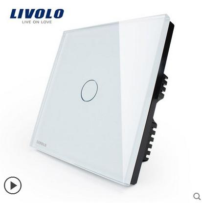 Free Shipping, Livolo Luxury White Crystal Glass Switch Panel, UK Standard,110~250V Touch Screen Wall Light Switch