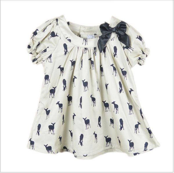 best selling 2016 Summer Baby Girl Kids Short Sleeve Deer Fawn Pattern Shirt Shirts Tops Children Clothing Cute Girl Ribbon Bowknot T-shirt Dress