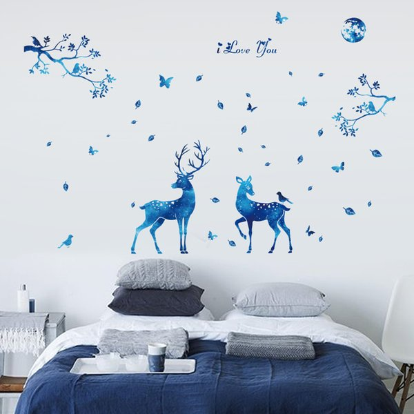 Nordic style blue star deer wall stickers living room bedroom Interior home decorations art decals diy animals murals