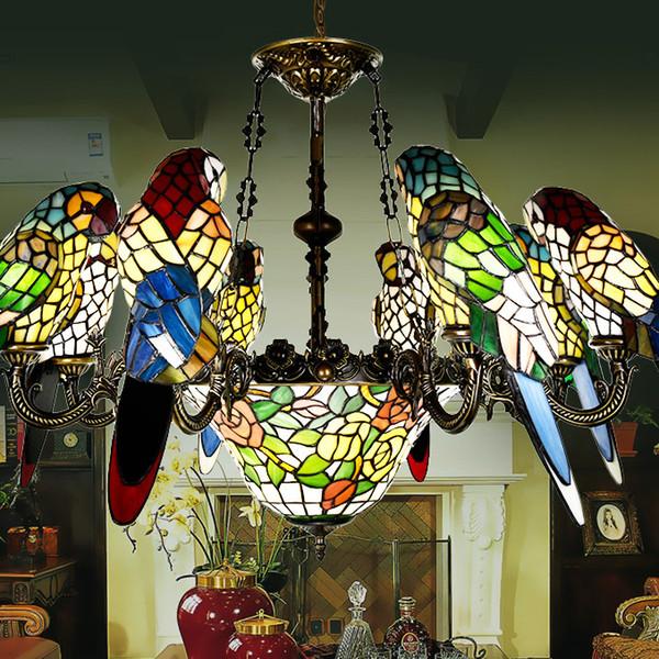 großhandel tiffany glasmalerei classic 8head papagei pendelleuchte, Wohnzimmer