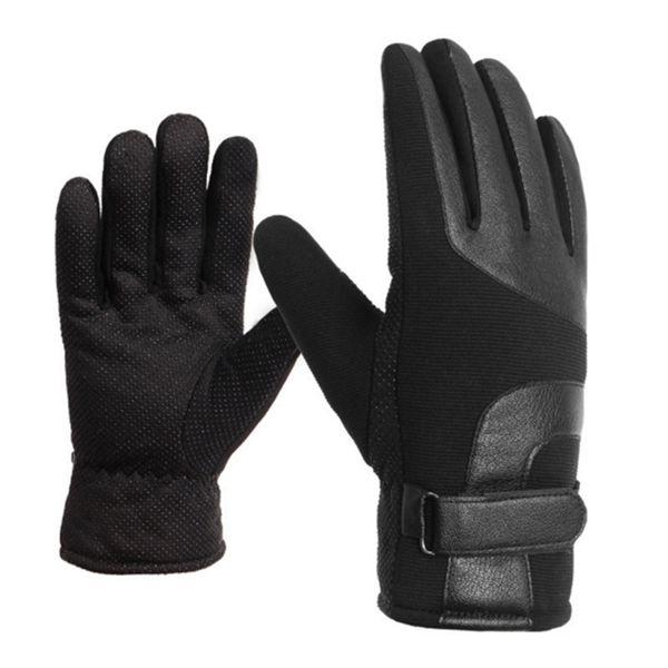 Wholesale- Warm winter men women gloves Fleece Non-slip leather gloves plus velvet thicken proofwind Mittens winter gloves men 2017 New