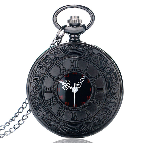 Wholesales Vintage Charm Black Unisex Fashion Roman Number Quartz Steampunk Pocket Watch Women Man Necklace Pendant with Chain Gifts