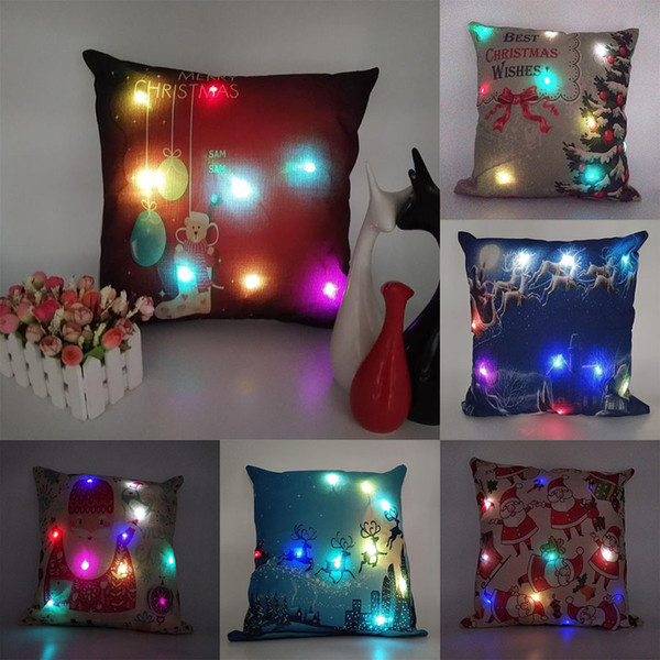 best selling New LED Christmas Pillows Case Xmas Pillow Cover Reindeer Elk Throw Cushion Cover Tree Sofa Nap Cushion Covers Santa Claus Home Decor C2898