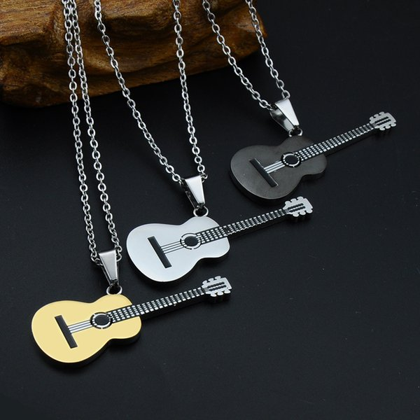 Fashion Necklace Gold Silver Black Music Guitar Stainless Steel Pendant Necklace for Men and Women with Rolo Chain 23""
