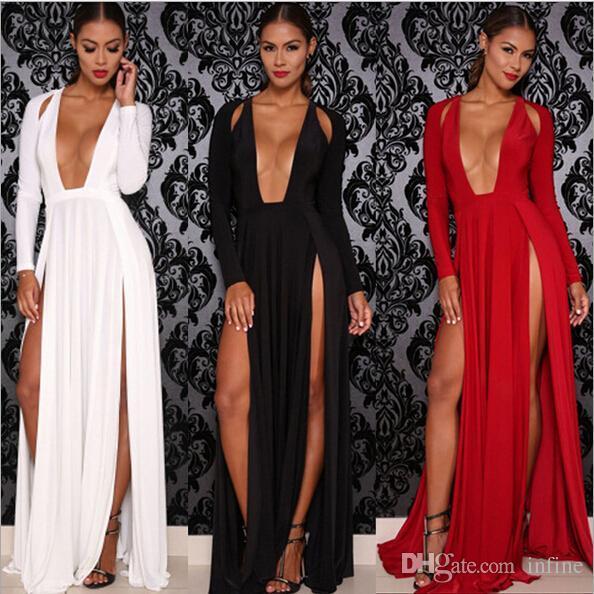 Celebrity Deep V Neck Long Sleeve Split Prom Maxi Dress High Side Double Slit Long Evening Party Dress White/Red/Black