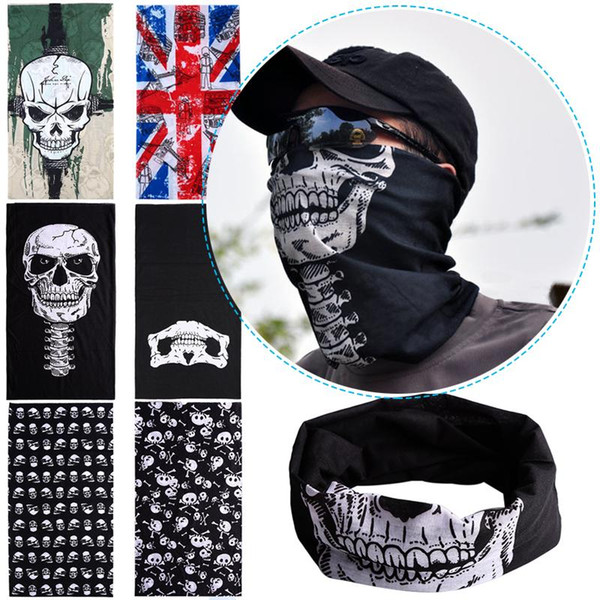 Wholesale-New 3 in 1 Multifunctional Scarf SKULL Ghost Face Windproof Mask Outdoor Sports Summer Ski Caps Bicyle Bike Balaclavas Scarf W1
