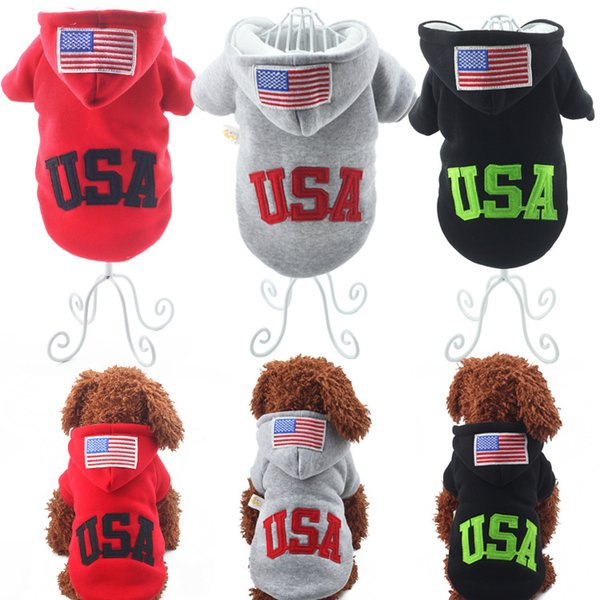 Hot Sale USA Big Dog Pets Warm Cotton Jacket Vest Winter Coat Hoodie Puppy Winter Clothes Pet Costume Pet Supplies 160912