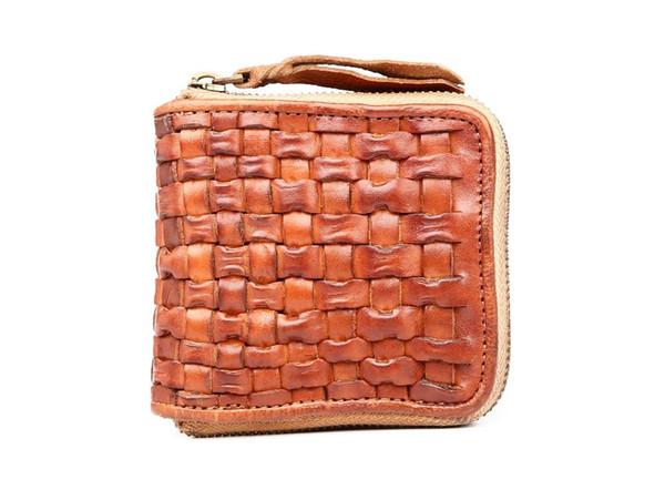 KISSUN Factory Unisex Brieftasche Top Layer Leder Platz Zip Wallet Handgefertigte Vintage Style Woven Fashion Geldbörse Short Großhandel