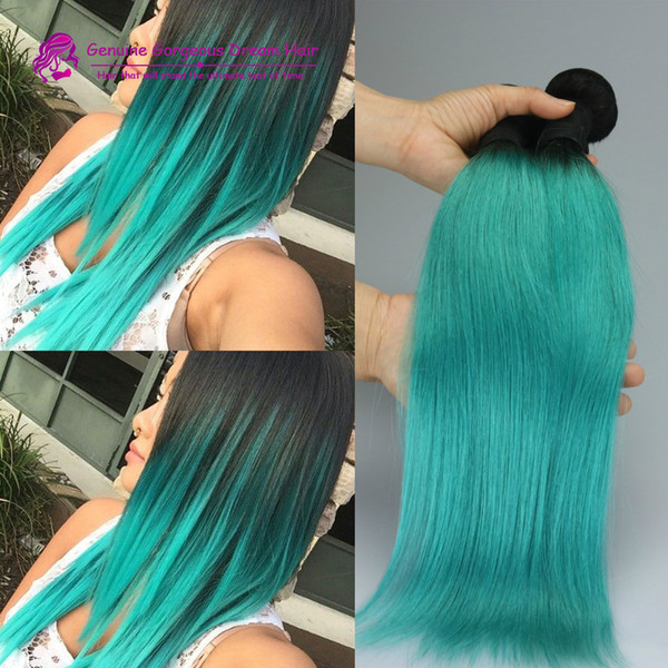 brazilian ombre 1b green and black human hair weave bundles two 2 tone color hair weft straight hair for sale in stock