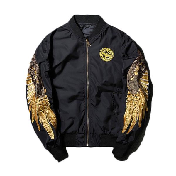 Chaqueta de otoño para hombre bordado oro águila alas Stand Collar Bomber Jacket Outwear moda abrigo de la bomba de los hombres a estrenar