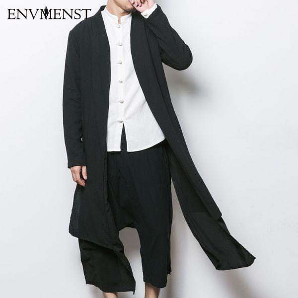 Atacado- 2017 estilo China jaqueta de trincheira dos homens do sexo masculino primavera outono kimono cardigan casaco punk moda casual longo trench outwear