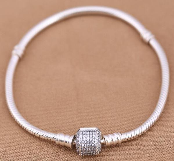 Neueste 925 Sterling Silber Armbänder Armreifen mit klaren CZ passt für Pandora Schmuck DIY Frauen Charme Großhandel freies Verschiffen beste Geschenk
