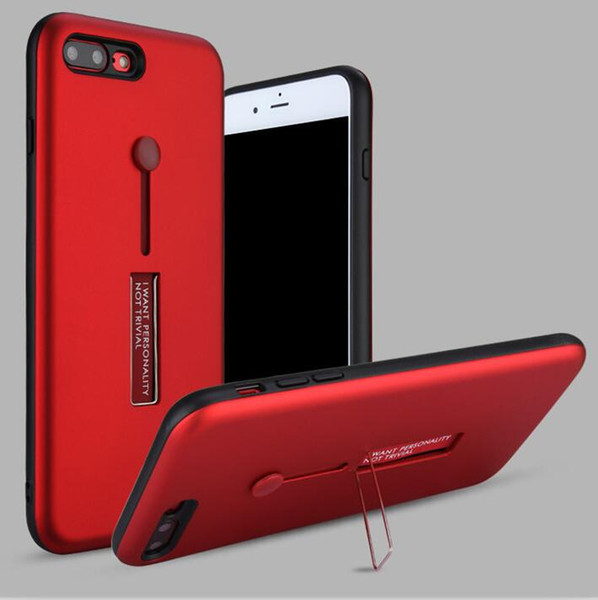 For iPhone X Rubber Finger Holder Armor Case Hybrid Metal Kickstand Portable Ring Cover for Samsung Note8 J5 Prime J730 J530 J330 J7 Max