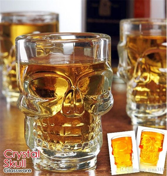 500ml Crystal Skull Head Vodka Shot Glass Beer Wine Milk Whisky Glasses Cup Drinking Ware Handle for Home Bar Party Creative Halloween 4020