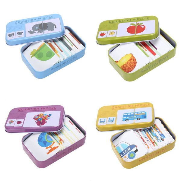 Cards Matching Game Box Baby Kids Iron Box Vehicle/Animal/Fruit/Daily Articles Cards Matching Game Preschool Educational Toy