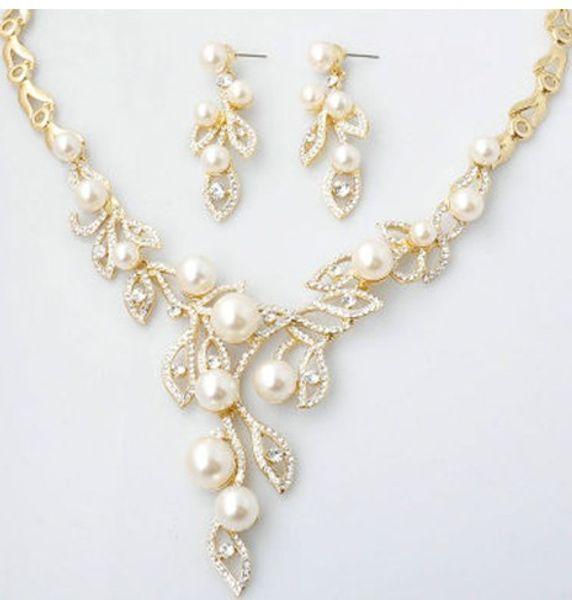 colore bianco diamante cristallo perla sposa set da sposa collana orecchini uouou