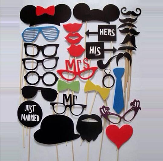 Wholesale-58 PCS Funny Mask Mustache Stick for Photo Booth Prop Wedding Birthday Party New