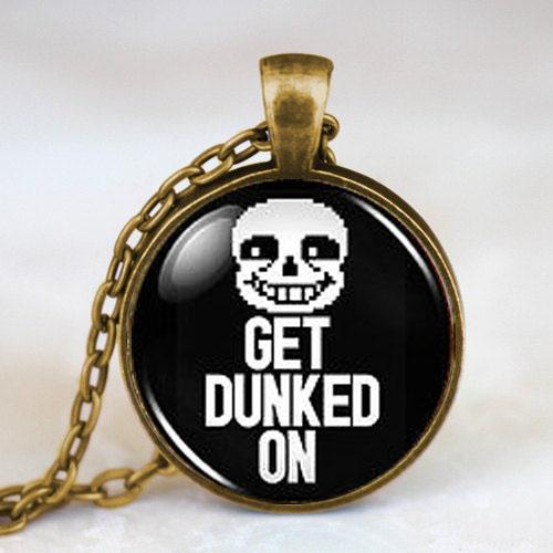 Wholesale- Undertale Sans Get Dunked On Game Gamer Gaming Mens Fashion Necklace brass silver Pendant steampunk Jewelry Gift women toy chain