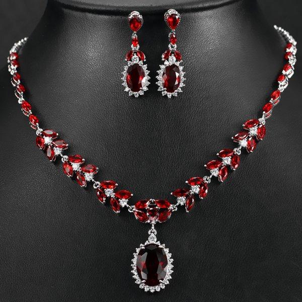 High Quality Platinum Plated Brilliant Oval Ruby Red Cz Diamond