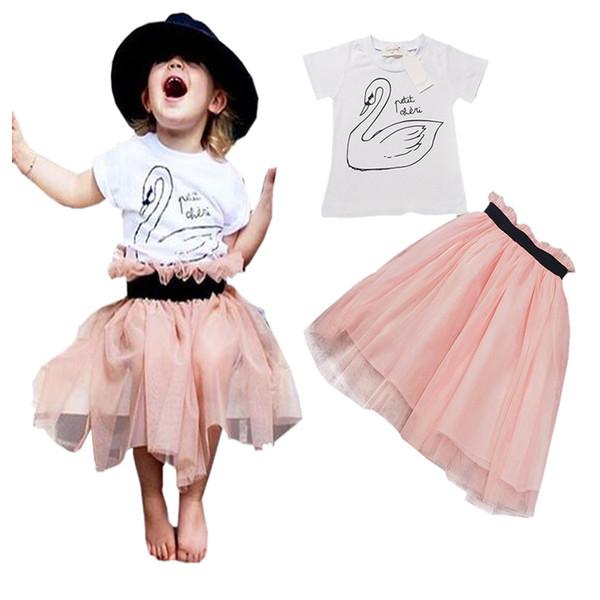 INS Little Swan bebê meninas vestido conjuntos Flamingo manga curta t-shirt branca top + rosa tutu saias de duas peças terno crianças roupas vestido de princesa