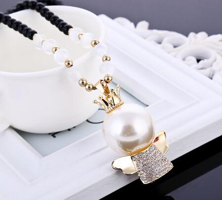 Freeshipping The latest style angel's necklace the heat sells pearl to mourn to fall to wholesale circle bead chain