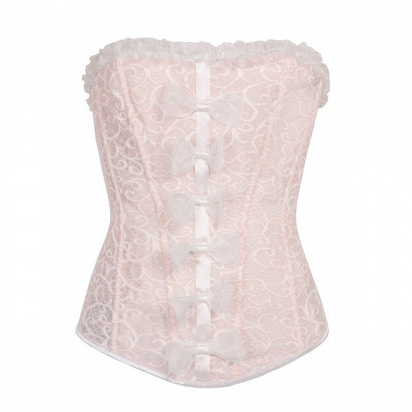 2723cb56731 New Women s Pinky Sweet Cute Lolita Overbust Corset with Lace trim and  Multi Bow Detail Sexy Dancing Halloween Corset Top