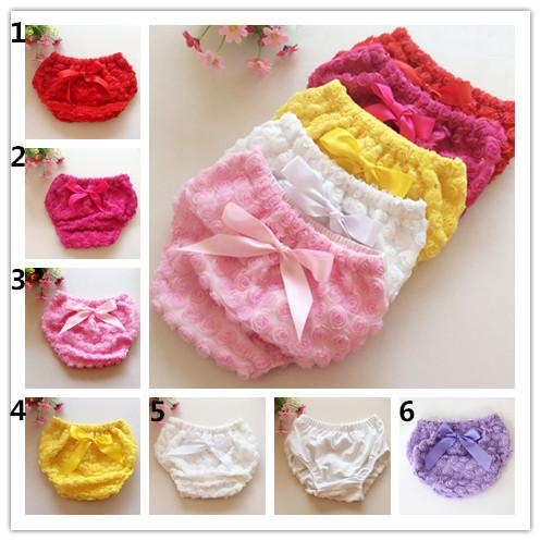 Baby lace 3D Rose Panties 6colors 3sizes Girl Ruffle ribbon bowknot Shorts newborn diaper underwear infant rose flower pants