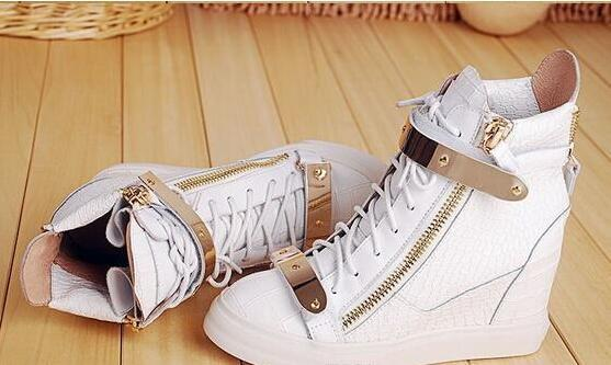 975fbedfb68d Hot Brand Women Casual Wedges Platform High Top Sneakers White  black Stone  Pattern Within the