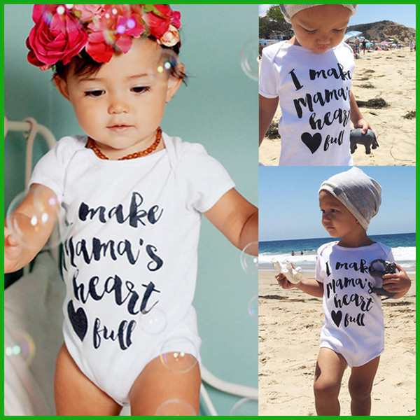 best selling Toddler baby rompers one-pieces white letter casual boys girls bodysuits infant children outfits summer beach lovely style free shipping