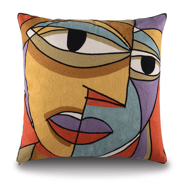 2015 Picasso Embroidered Decorative Throw Pillows Case Cotton Cushion Cover Creative Decoration For Home Sofa Car Covers 45X 45Cm