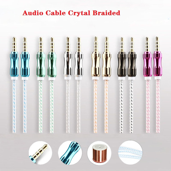 1.5M Audio Cable Crytal Braided Woven 3.5mm AUX Auxiliary Extention Aluminium Alloy Cord Male to Male for iphone Samsung Speaker MP3 SCA203