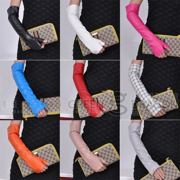 Wholesale- New women's long gloves fashion sexy fingerless gloves long PU leather gloves 10 colors 40cm length