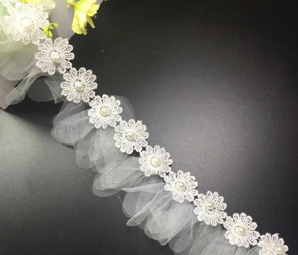 15Yard Sunflower Pearl Flower Chiffon Tassel Lace Fabric Trim Ribbon For Apparel Sewing DIY Bridal wedding Doll Cap Hair clip